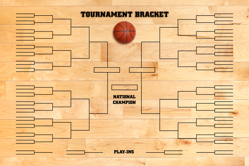 Basketball tournament bracket superimposed on a wood gym floor